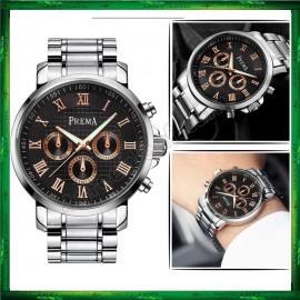 image of Original PREMA Luxury Watch 3288 Leather Steel Band Casual Quartz Wrist Watch