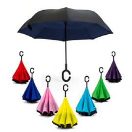 image of Reverse Inverted Umbrella C-Hook Self Stand Inside Out Plain