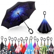 image of Reverse Inverted Umbrella C-Hook Self Stand Inside Out Umbrella