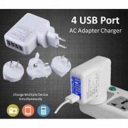 image of 4 USB Ports AC Universal Travel Wall Adaptor Fast Charger With 4 AC