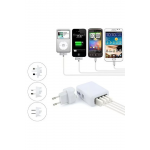 4 USB Ports AC Universal Travel Wall Adaptor Fast Charger With 4 AC