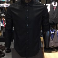 image of Men's BLACK Smooth Plain Basic Simple Business Casual Long Sleeve Shirt. ASTON