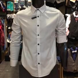 image of Men's WHITE Smooth Plain Basic Simple Business Casual Long Sleeve Shirt. ASTON