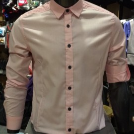 image of Men's PINK Smooth Plain Basic Simple Business Casual Long Sleeve Shirt. ASTON