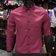 image of Men's FUCHSIA Smooth Plain Basic Simple Business Casual Long Sleeve Shirt. ASTON