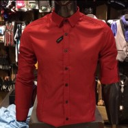 image of Men's RED Smooth Plain Basic Simple Business Casual Long Sleeve Shirt. ASTON