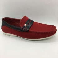 image of Men Shoes Red Color Lifestyle Casual Loafers Slip On Suede Surface. CLARKSON