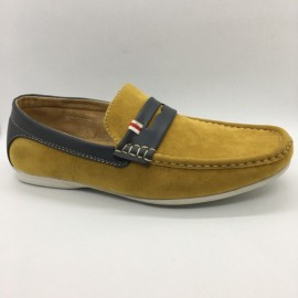 image of Men Shoes Yellow Color Lifestyle Casual Loafers Slip On Suede Surface. CLARKSON