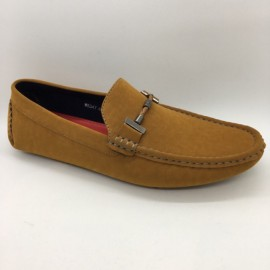 image of Men Shoes Camel Brown Suede PU Lifestyle Casual Loafer Slip On with Buckle. JEFF