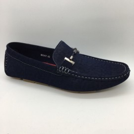 image of Men Shoes Blue Color Suede PU Lifestyle Casual Loafers Slip On with Buckle. JEFF