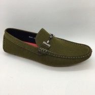 image of Men Shoes Khaki Green Suede PU Lifestyle Casual Loafer Slip On with Buckle. JEFF
