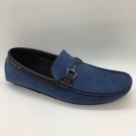 image of Men Shoes Blue Color Lifestyles Casual Loafers Slip On with Buckle. JEFF