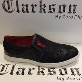 image of Men Shoes Shiny Black Color Casual Lifestyles Slip on Textile Shoes. CLARKSON
