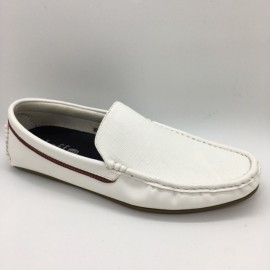 image of Men Shoes White Red Color Lifestyles Casual Loafers Slip On with Buckle. JEFF