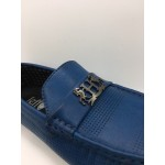 Men Shoes Blue Color Lifestyles Casual Loafers Slip On with Buckle. JEFF