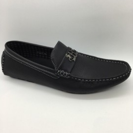 image of Men Shoes Black Color Lifestyles Casual Loafers Slip On with Buckle. JEFF