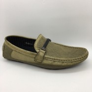 image of Men Shoes Khaki Brown Color Lifestyles Casual Loafers Slip On with Buckle. JEFF