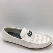 image of Men Shoes White Color Lifestyles Casual Loafers Slip On Breathable Holes . JEFF