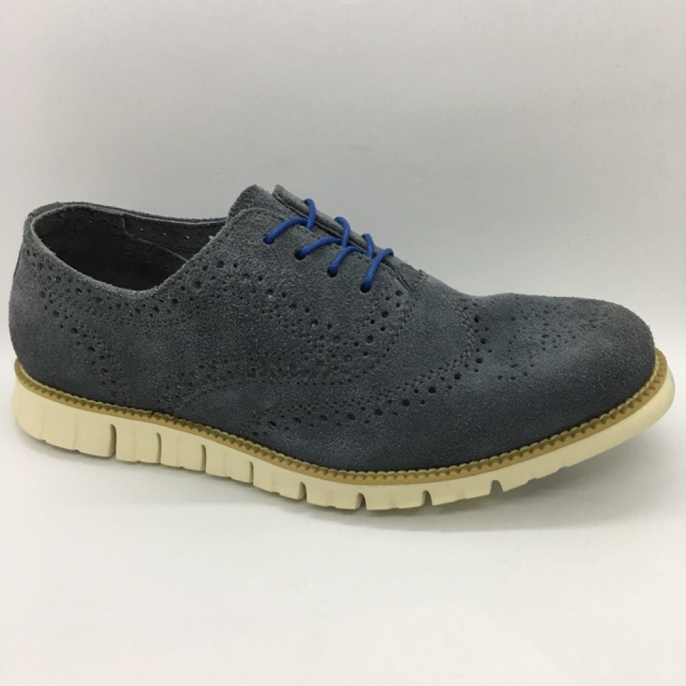 Men Leather Shoes Wingtip Oxford Dark Grey Color Lace-Up (Cole Haan). HUNTER