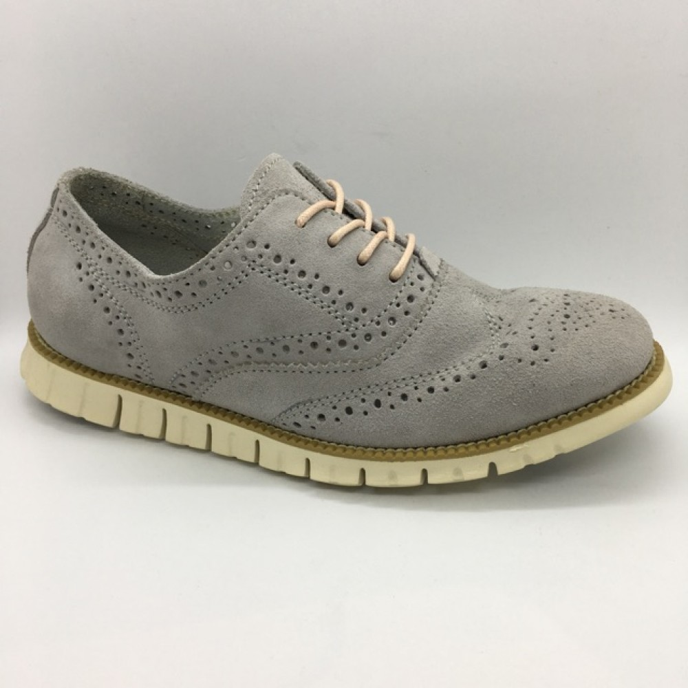 Men Leather Shoes Wingtip Oxford Light Grey Color Lace-Up (Cole Haan). HUNTER