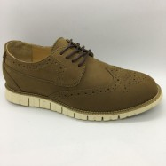 image of Men Leather Shoes Wingtip Oxford Khaki Brown Color Lace-Up (Cole Haan). HUNTER