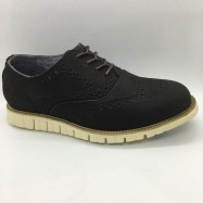 image of Men Leather Shoes Wingtip Oxford Black Color Lace-Up (Cole Haan). HUNTER