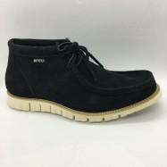 image of Men Leather Shoes Mid-Cut Suede Black Color 2Holes Lace-Up. HUNTER