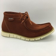 image of Men Leather Shoes Mid-Cut Suede Whisky Brown Color 2Holes Lace-Up. HUNTER