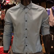 image of Men's S.BLUE Smooth Plain Basic Simple Business Casual Long Sleeve Shirt. ASTON