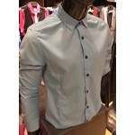 Men's S.BLUE Smooth Plain Basic Simple Business Casual Long Sleeve Shirt. ASTON