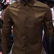 image of Men's KHAKI Smooth Plain Basic Simple Business Casual Long Sleeve Shirt. ASTON