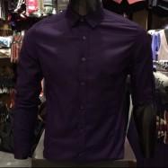 image of Men's PURPLE Smooth Plain Basic Simple Business Casual Long Sleeve Shirt. ASTON