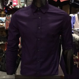 image of Men's PURPLE Smooth Plain Basic Simple Business Casual Long Sleeve Shirt. ASTON