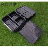 image of 10 pcs of 3 Compartment Lunch Box Lids Plastic Reusable Microwaveable