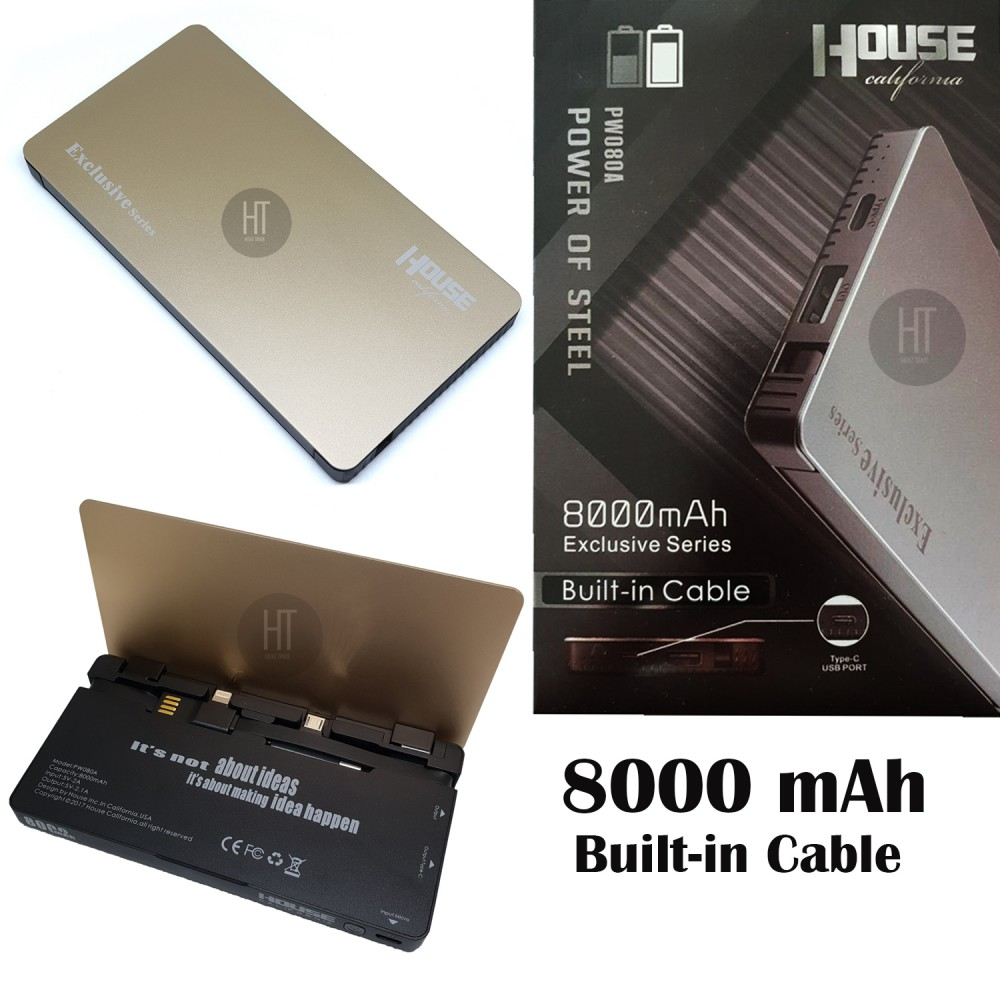 HOUSE CALIFORNIA Power Bank 8000 mAh (built in All in cable Charger) Type C, USB