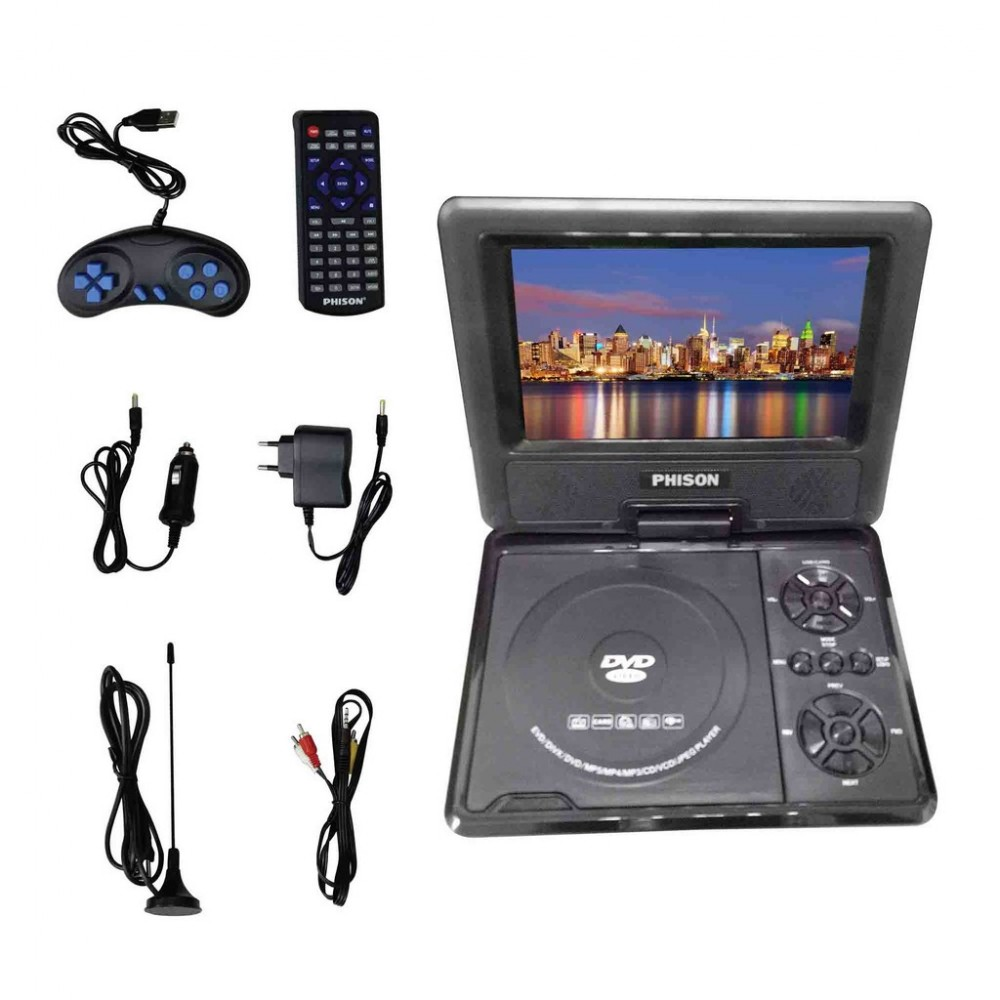 """Phison Portable DVD Player PD-780 (7"""" TFT LED) Rechargeable + USB"""