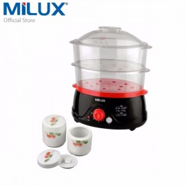 image of Milux 2-In-1 Food Steamer MFS-8001 [ free CERAMIC STEW POT & RICE BOWL ]
